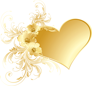 Gold_Heart_with_Flowers_PNG_Picture